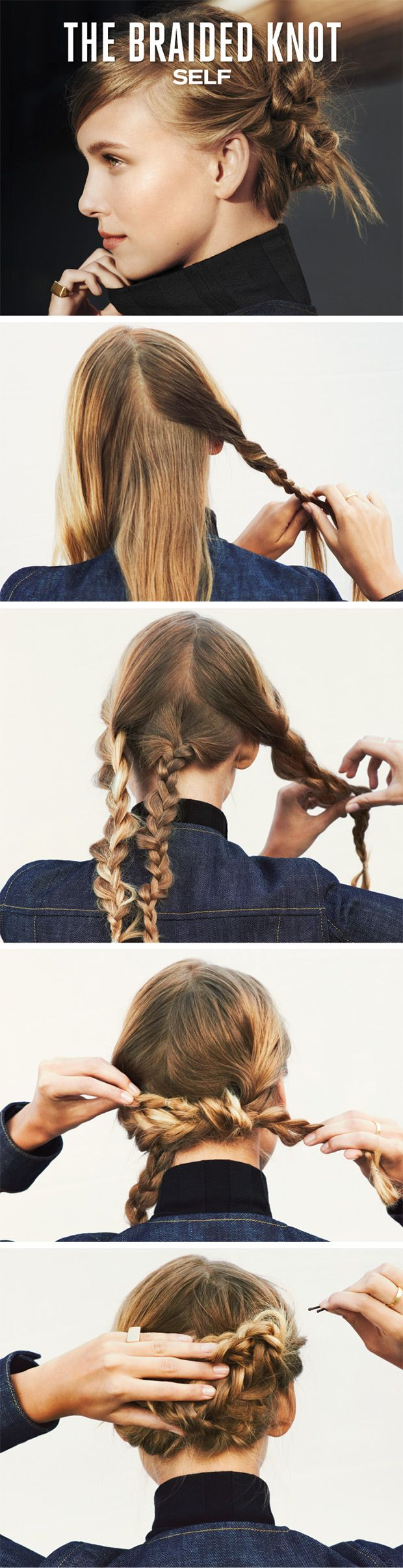 PREP IT: Mist a texturizing spray like Kérastase V.I.P., $37, on dry hair. Section hair into two parts from ear to ear: one upper half, one lower half. Divide upper half down the middle in two. Braid all three sections.    LOOSEN IT: After fastening each braid with clear elastics, use fingers to gently pull the edges a little. This will create a soft, lived-in effect. Work slowly to keep braids from unraveling.    KNOT IT: Tie top two braids into a loop just above the nape of your n