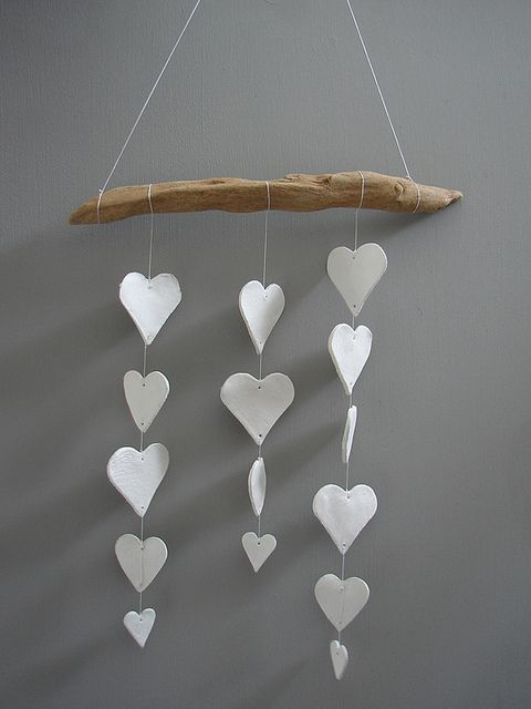 clay heart mobile - diy