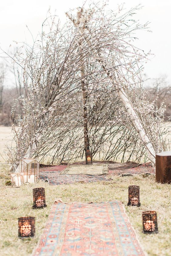 bohemian tent wedding altar / http://www.deerpearlflowers.com/twigs-and-branches-wedding-ideas/2/
