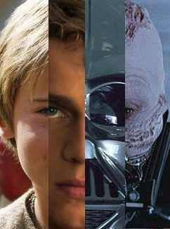 This composite photograph of Anakin Skywalker/Darth Vader really underscores that it took a lot of different people to portray him at one time or another in the first two trilogies: Jake Lloyd, Hayden Christiansen, David Prowse, James Earl Jones, Sebastian Shaw...and legendary sword master Bob Anderson, who performed inside the Vader costume for the light saber sequences of Empire and Jedi.