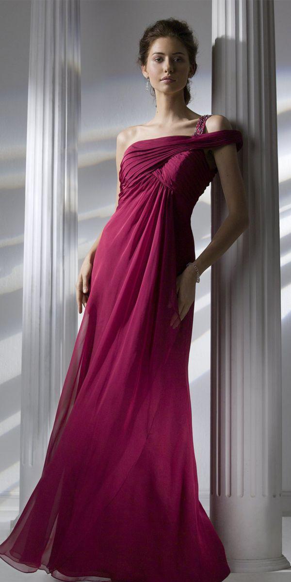 4968c1ec6ae Silk Like Chiffon One Shoulder Neckline Empire Waistline Floor-length A-line  Bridesmaid Dress