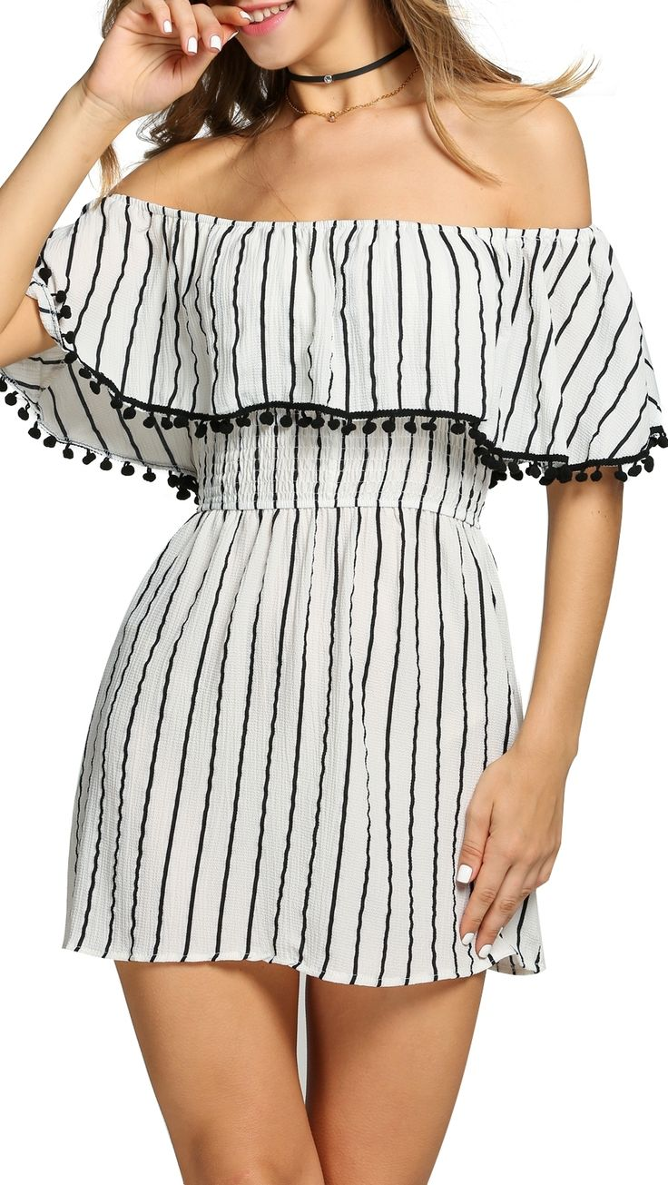 Off Shoulder Ruffles Striped Tassel A-Line Going Out Dress