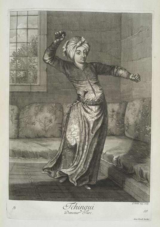 van mour-Tchingui, danseur turc (1714)Jean-Baptiste van Mour'un (1671 – 1737) altında basılan Osmanlı gravürleri.