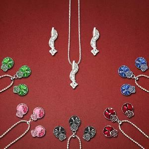 Pendant Set Combo Made With Swarovski Elements By Mahi @ Rs 749