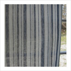 Blue striped linen curtains