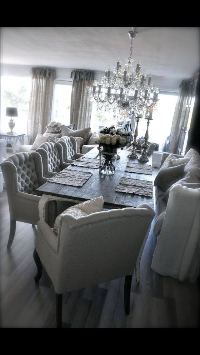 Gray and whites look so pretty together. The chandelier is perf