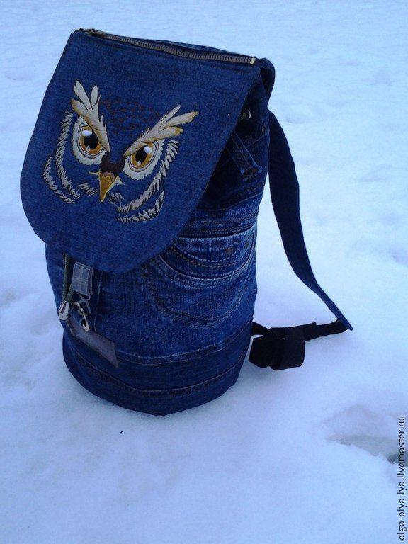 """Купить Рюкзак """"Сова-мудрая голова"""" - тёмно-синий, рисунок, сова, Машинная вышивка, совы"""