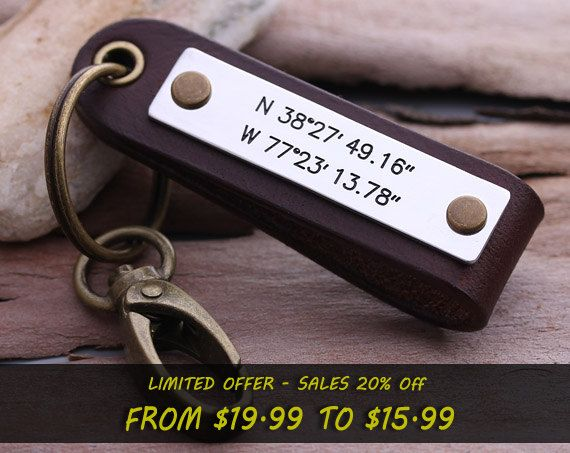 This personal keychain can be stamped with any message you like. Such as the Latitude Longitude of a special place, birth dates, wedding dates, anniversary, names, message, etc... It is a perfect gift for anniversary wedding, birthday, father days, etc   ********** In notes to seller, plz indicate: ********** 1. The stamping details (coordinates or words) 2. Leather color you need 3. Keychain style and color (The clasp and rivets color will be same with keychain) 4. Your phone number in case…