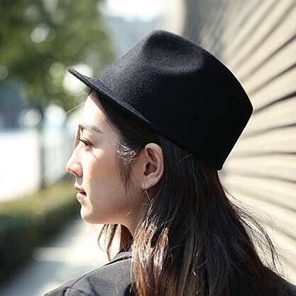 Handsome Equestrian cap for teenage girls plain black wool fedora hat