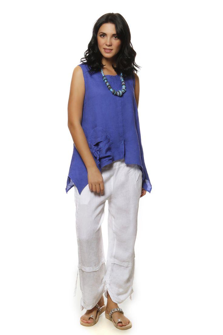 Linen Gauze Blouse 816 and Linen Pants http://eshop.hariscotton.gr/