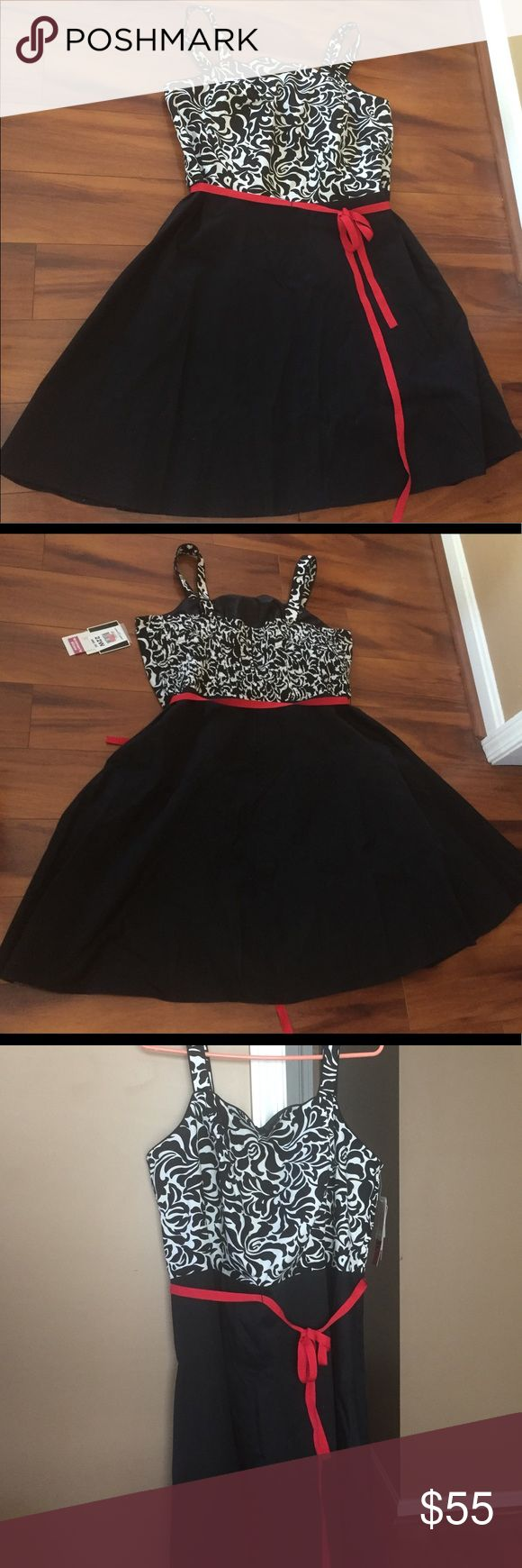 """NWT Dress NWT never worn Back has stretch & zipper. Red tie belt is removable 2 button straps to adjust. ➡️I have stitched the straps (inside) @1 1/2"""" because they were too long for me....THE STITCHING CAN BE REMOVED EASILY & I WILL EVEN REMOVE IT IF ASKED TO. Priced accordingly.  Size 22 Dress is @36"""" long, I am 5'6"""" and it hits at my knees. Slight flare to skirt.  97% cotton 3% spandex Wash cold, line dry, iron if necessary R & K Originals Woman Dresses"""