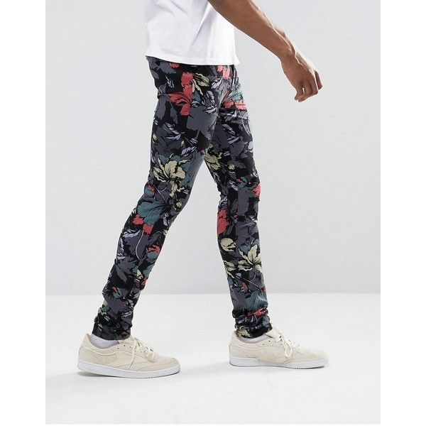 ASOS TALL Super Skinny Trouser in Hibiscus Print ($39) ❤ liked on Polyvore featuring men's fashion, men's clothing, men's pants, men's casual pants, mens stretch pants, mens super skinny dress pants, mens tall pants, mens skinny pants and mens base layer pants