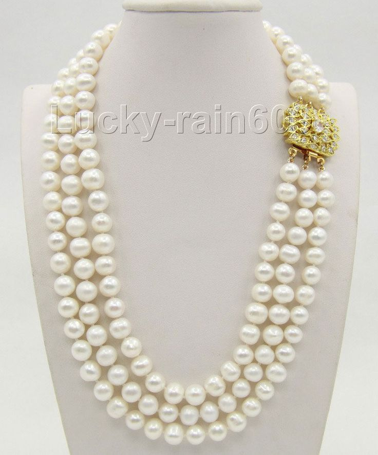 "16""-18"" 3row 9mm round white FW pearls necklace gold plated clasp e2078"
