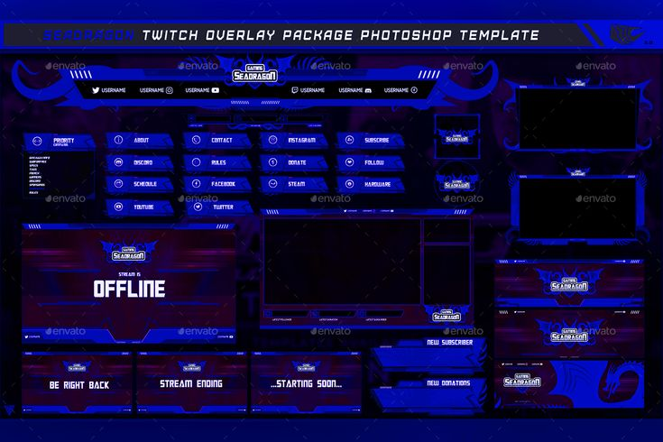 design profession twitch overlay template and stream pack
