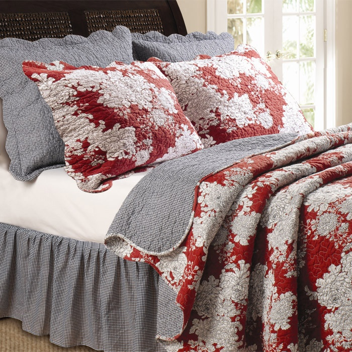 lorraine quilt set black red and ivory bedding set
