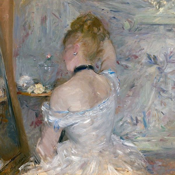 """Woman at her Toilette"" by Berthe Morisot, ca. 1975-1880. Chicago Art Institute"