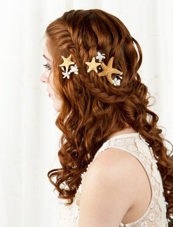 beach wedding hair accessories, starfish hair pins, seashell hair accessory, pearl bobby pins -SALLY- ivory flower, bridal hairpiece