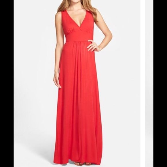 "LOVAPELLA MAXI  DRESS IN CORAL GLOW( 3 RD photo) SOFT DRAPEY MAXI DRESS. SIZING IS LARGE PETITE BUT IT RUNS TOO LONG FOR MY DAUGHTER WHOM IS 5'3"". IF YOU  LIKE TO WEAR FLATS/FLIP FLOPS WITH MAXI DRESSES, THEN THIS WORKS FOR UP TO 5'8"". FITS UP TO A SIZE 10-12. CASUAL BUT DRESSY ENOUGH FOR A BACKYARD PARTY, SHOWER ETC. ***COLOR IS CORAL GLOW WHICH IS 3 RD PHOTO. NOT AS RED AS FIRST PHOTO. Loveappella Dresses Maxi"