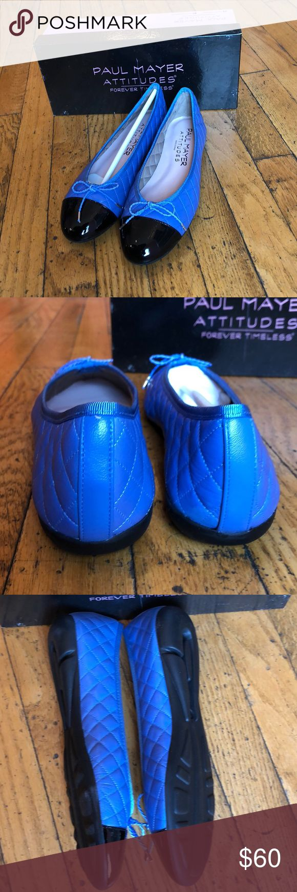 Paul Mayer Attitudes Best Flat Blue/Black Patent This classic style flat has a quilted body and a patent toe. Bow on top. Never been worn! Comes with original box.  Feel free to ask any questions! I accept reasonable offers. Paul Mayer Shoes Flats & Loafers