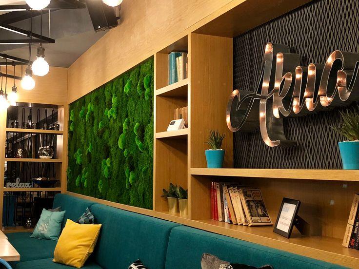 Pub design Bar design Green pannels&3D writing Custom made hanging lamps