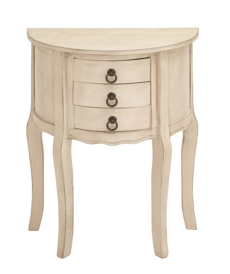Wood Night Stand In Off-White Shade And Smooth Finish