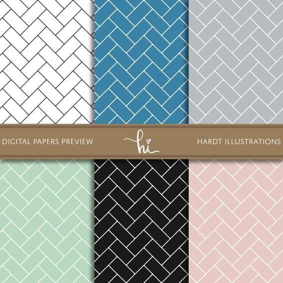 Subway Tile Digital Paper, Herringbone Tiles, Chevron ...