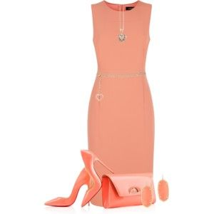 Coral dress and heels