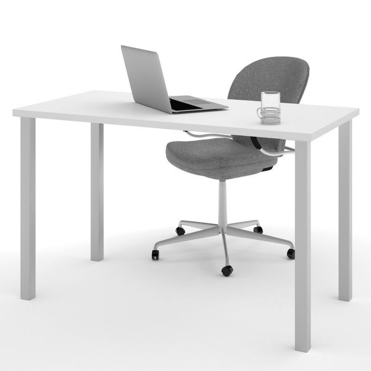 Bestar Work Surface Table with Square Metal Legs - 65855-