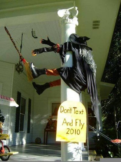 Don't text and fly!! Halloween witch