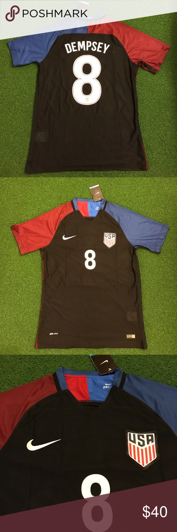 USA Soccer Jersey DEMPSEY #8 New with tags! Clint DEMPSEY #8 USA - United States of America men's national Short Sleeve Soccer Jersey! Black with red and blue sleeves - 2016. World Cup - futbol - uniform - kit - top - shirt Shirts Tees - Short Sleeve