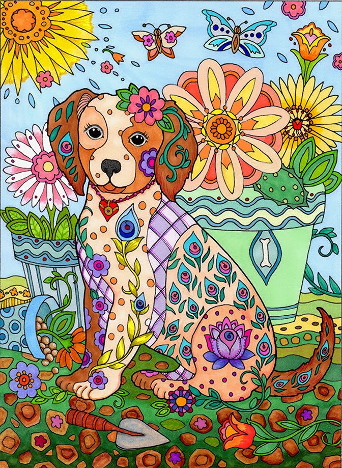 From Dazzling Dogs By Marjorie Sarnat Coloured Alexis Rogers Adult ColoringColoring BooksColouringRoom
