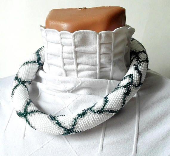 Python white Python necklace bead necklace jewelry beadwork
