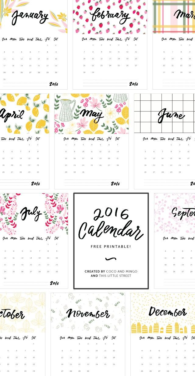 For the new year // 2016 Printable Calendar (Free!) - Coco & Mingo