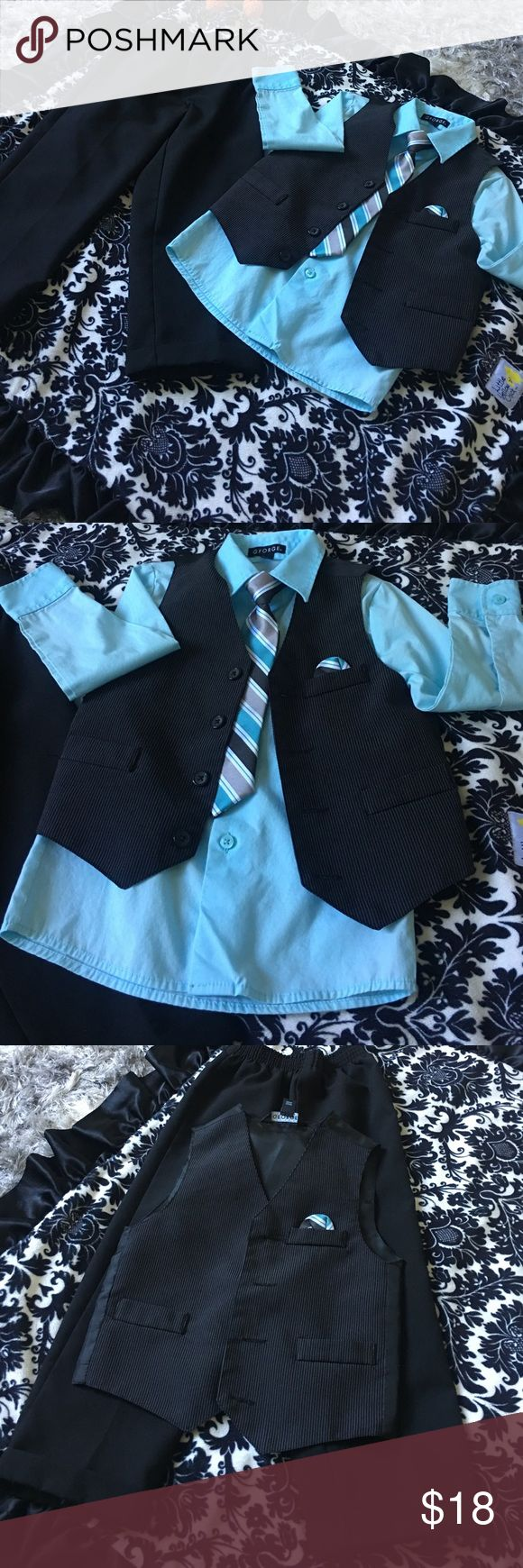 4piece suit This is a George 4 piece suit! Slight piling and wear along bottom cuff of boys pants and slight ring around collar noted in pics 4 & 7. George Matching Sets