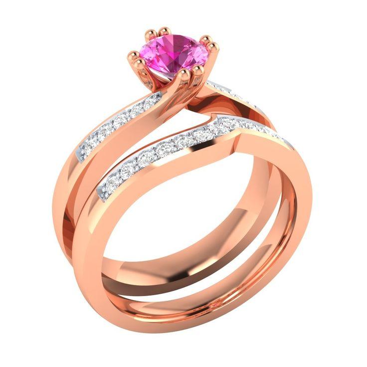 70 Ct Diamante Naturale & Rosa Zaffiro 10k Rosa Set Anello Nuziale De Oro | Gold Bridal Ring Set