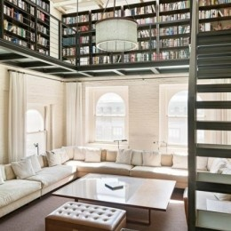 """A second story loft home library? Yes, please!  (from """"How to Create a Cozy Reading Nook"""") #design #decor #books"""