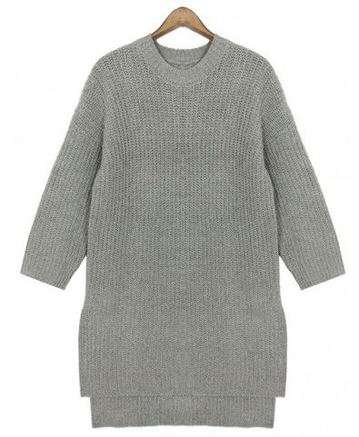 Chunky Knit Sweater with Side Splits and Stepped Hem