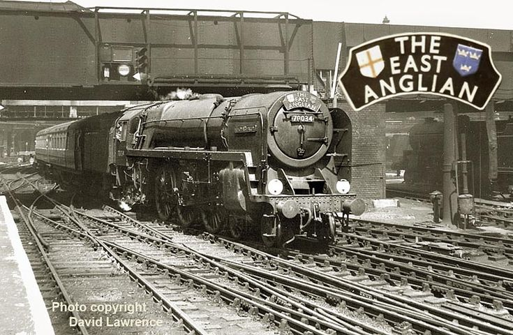 Britannia class 7MT No 70034 Thomas Hardy arrives at Liverpool Street with the 'East Anglian'