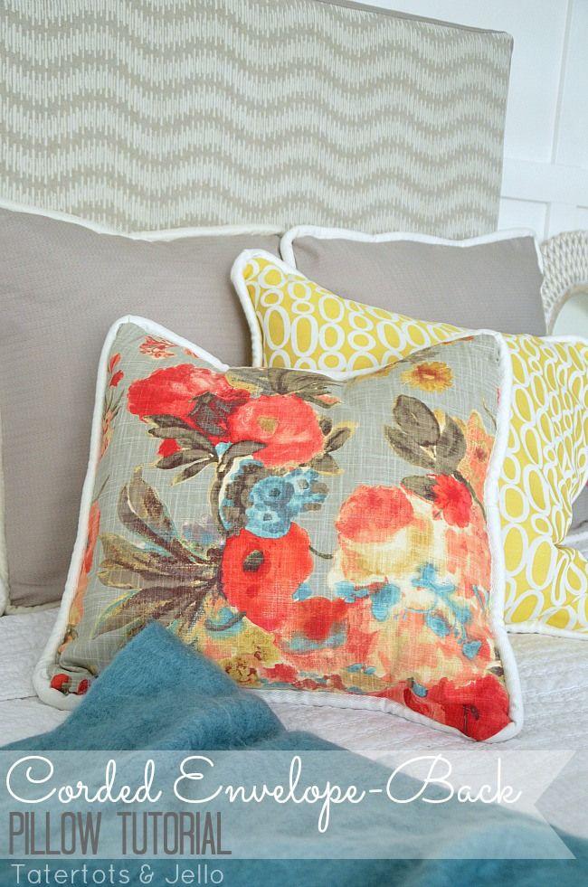 corded envelope back pillow tutorial DIY