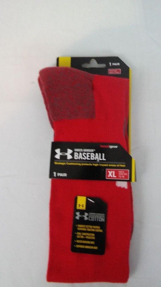 Under Armour Mens Red Baseball Socks XL NWT #UnderArmour #Athletic