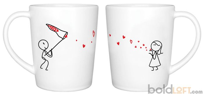 "BoldLoft ""Catch My Love"" His and Hers Couple Coffee Mugs-""Eenie meenie miney moe, catch my love before you go, if I holler don't let me go, just show me how you love me so."" This playful theme is perfect for love birds. These his and hers coffee mugs are unique gifts for anniversary, Valentine's Day, and Christmas."
