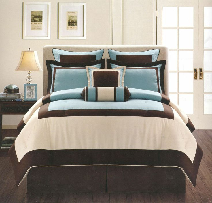 8 pieces king size modern 3 tone comforter set blue brown beige bed in a bag