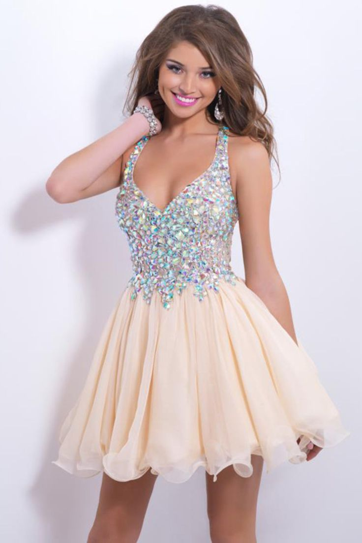 2015 Delicate Short/Mini Halter A Line/Princess Homecoming Dresses Lace&Chiffon Beaded Bodice Color As Picture