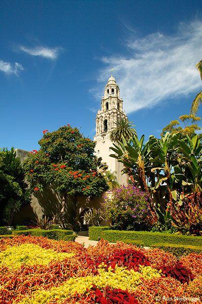California Tower and the Museum of Man with the Casa Del Rey Moro Garden.  Balboa Park, San Diego, California