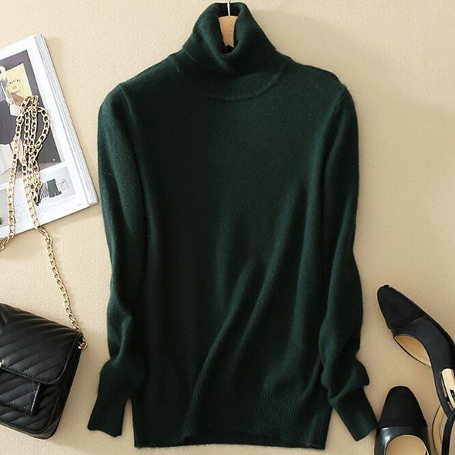 Women Cashmere Sweater Turtleneck Women'S Plus Size Knitted Winter Cashmere Warm Sweaters Elastic Sweater