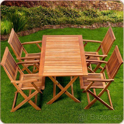 Nový Zahradní nábytek dřevěný 4 židle a 1 stůl - 1