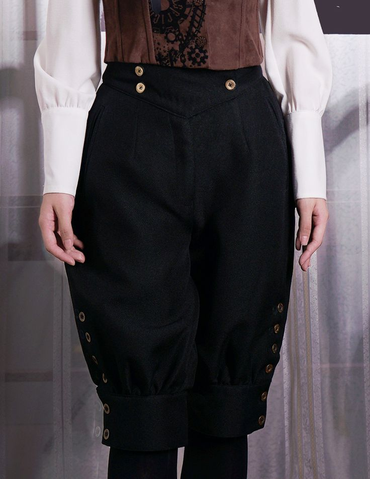 Fanplusfriend Gothic Steampunk High Waist Short Riding Breeches