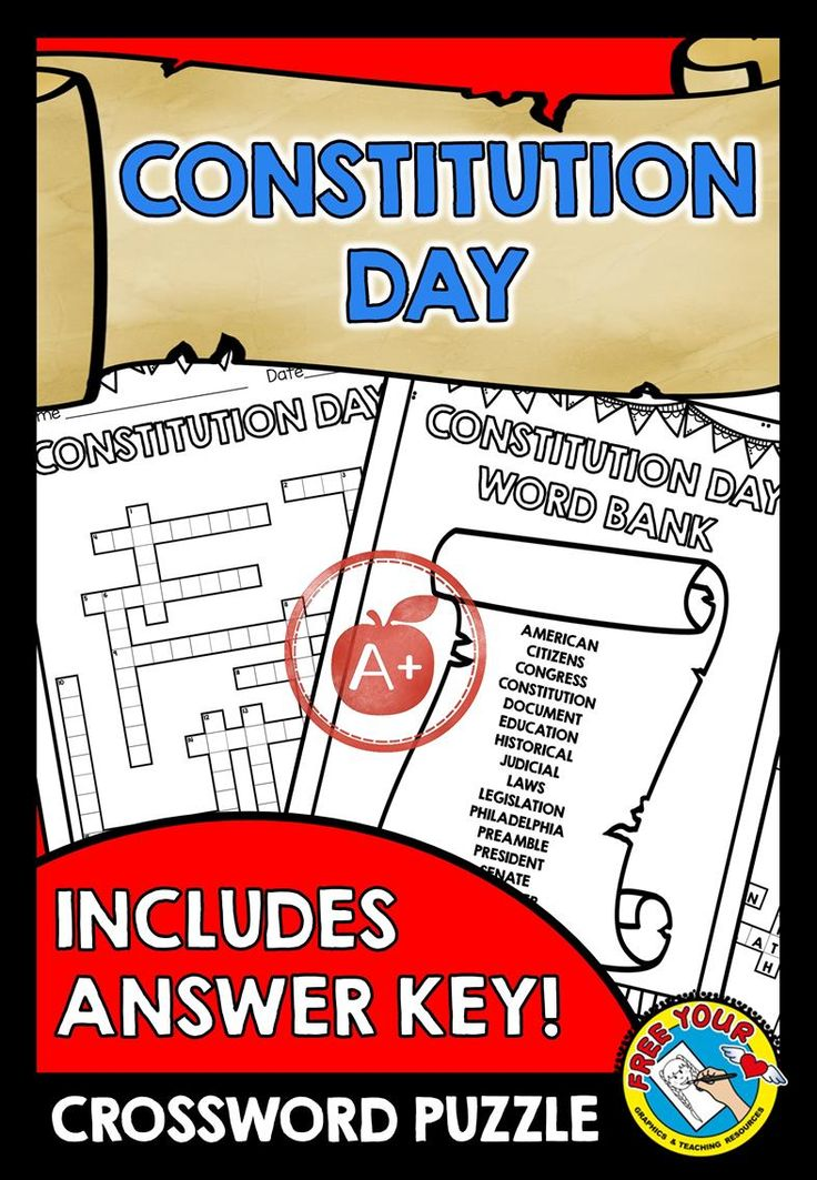 CHECK OUT THIS #CONSTITUTION #DAY #CROSSWORD #PUZZLE WITH ANSWER KEY AND WORD LIST!