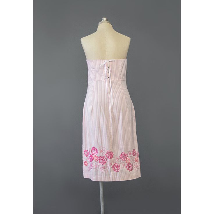 Floral Embroidered Dress Striped Dress Pink Yellow White Vintage 90s Dress Cotton Sundress Strapless Dress 1990s Dress Summer Dress Medium M  #vintage #vintagedress #vintageclothing #vintagedresses #90svintage #90sdress #90sdresses #express #stripeddress