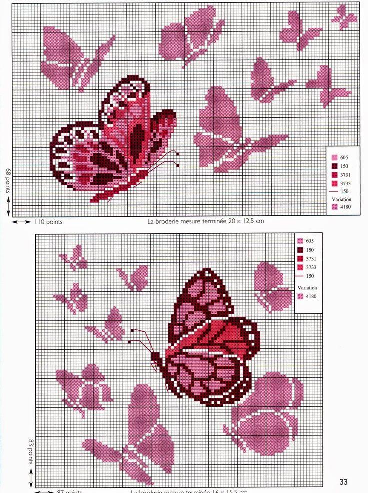 Ricamo e schemi a puntocroce gratuiti: Tante farfalle da ricamare a punto croce
